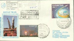 KAZAKHSTAN 1997 BAYKONUR RUSSIA SPACE COVER TO GERMANY SOYUZ TM R2021602