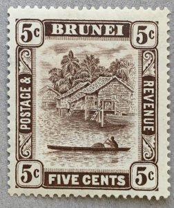 Brunei 1933 5c chocolate brown, unused.  Scott 51,  CV $25.00.   SG 68