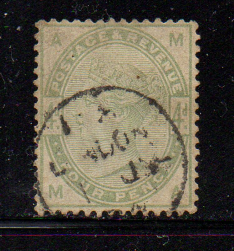 Great Britain Sc 103 1884 4d green Victoria stamp used