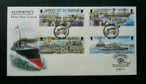 Alderney Island Part V 2001 Ship Boat Port Transport (stamp FDC)