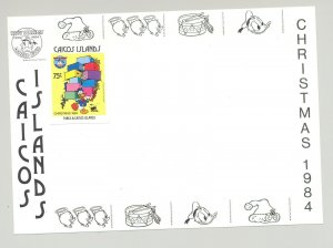 Caicos #57 Christmas, Disney 1v Imperf Proof Attached to M/S Background