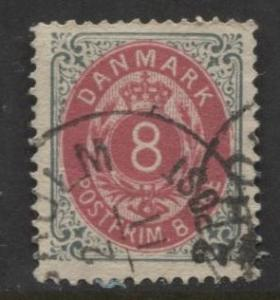 Denmark - Scott 28a - Definitive Issue -1875 - Used - Single 8s Stamp