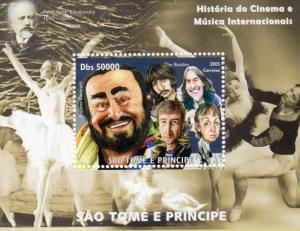 Sao Tome and Principe 2005 PAVAROTTI/THE BEATLES/TCHAIKOVSKY SS Perforated MNH