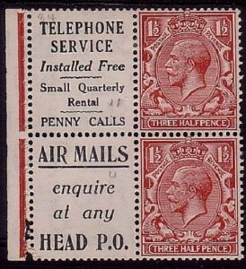 GB GV 1½d (2) ex booklet adverts Telephone & Airmails mint.................32611
