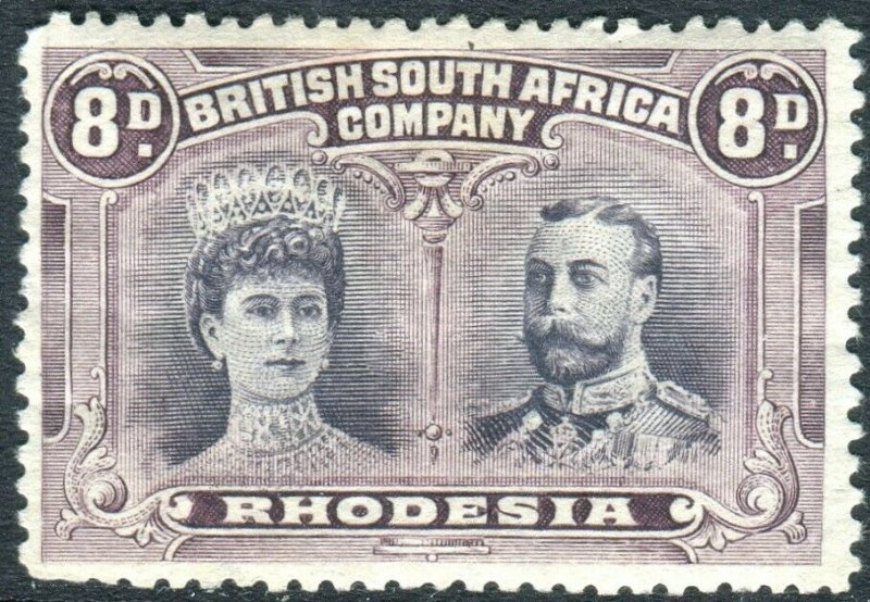 RHODESIA-1910-13 8d Black & Purple Perf 13 ½.  A mounted mint example Sg 185