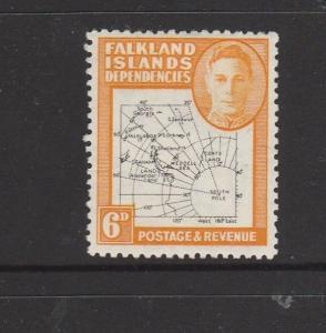 Falkland Deps 1948 map Thin, Break in 'O' Meridian ( listed in Heijtz ) 6d MM