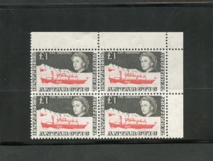 BRITISH ANTARCTIC TERRITORY SCOTT#24  UPPER RIGHT CORNER BLOCK OF FOUR MINT NH