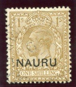 Nauru 1916 KGV 1s bistre-brown very fine used. SG 12. Sc 12.