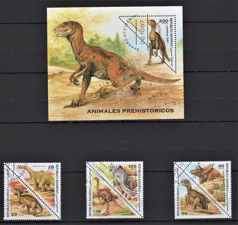 Sahara S/S & 6 Stamps CTO Dinosaurs
