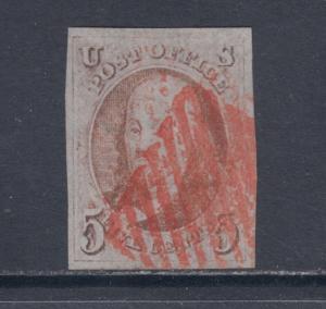US Sc 1d used 1847 5c brown orange Franklin, red cancel, huge margins. 2 Certs