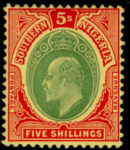 SOUTHERN NIGERIA SG42, 5s green & red/yellow, LH MINT. Cat £40. CHALKY.