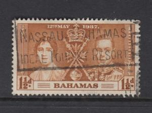 Bahamas -Scott 98 - Coronation - 1937 - Used - Single 1.1/2d Stamp