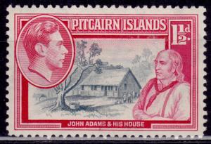 Pitcairn Islands 1940, John Adams and His House, 1 1/2d, sc#3, MLH