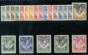 Northern Rhodesia 1938 KGVI set complete MLH. SG 25-45. Sc 25-45.