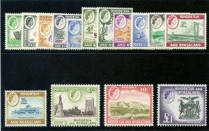 Rhodesia & Nyasaland 1959 QEII Definitive set complete MNH. SG 18-31. Sc 158-171