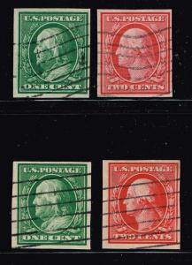 US STAMP  #343–4, 1908   #374-5 1910-11 IMPERF USED STAMPS LOT