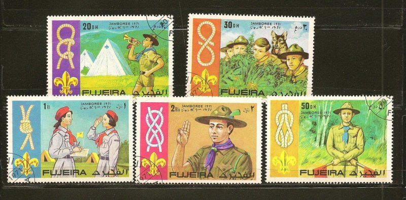 Fujeira Collection of 5 Different Scouting Jamboree 1971 Stamps CTO