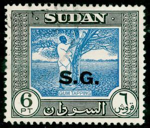 SUDAN SGO79, 6p blue & black, FINE USED.