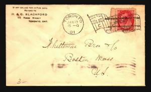Canada 1901 Commercial Cover / Flag Machine Cancel - Z15373