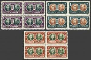 Guatemala 350-352 bl./4,MNH.Mi 535-537. Rafael Alvarez Ovalle,Jose Joaquin Palma