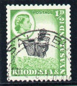 Rhodesia & Nyasaland 1959 QEII ½d COIL STAMP (p12½x14) VFU. SG 18a.