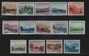 LIECHTENSTEIN 198-211 (14) Set, Hinged, 1944-45 Landscapes