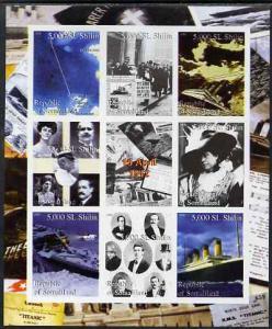 Somaliland 2000 Titanic imperf sheetlet containing set of...