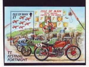 Isle of Man Sc 705 1996 TT Motorcycle stamp souvenir sheet mint NH