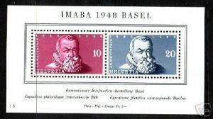 Switzerland Sc B178 MLH. 1948 IMABA S/S, scarce & VF