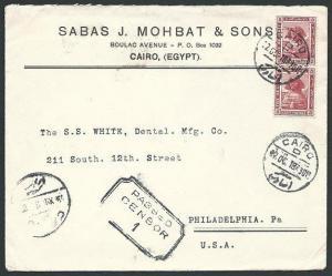 EGYPT 1918 censor cover Cairo to USA.......................................45818