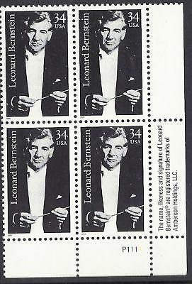 3521 Leonard Bernstein music conductor Plate block of 4 Mint 34cent stamps