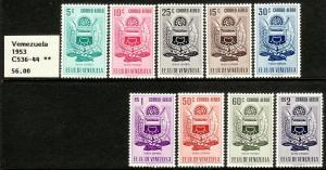 1951 Venezuela Arms of Nueva Esparta & Fish airmail set MOG Sc# C536 / C544