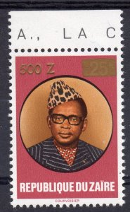 Zaire 1990 Sc#1336 Pres.Mobutu ovpt.Gold new value 500z (1) MNH