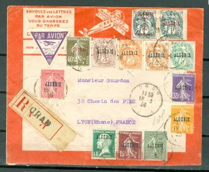 ALGERIA SCARCE HISTORICAL 1926 REGISTERED COVER TO FRANCE