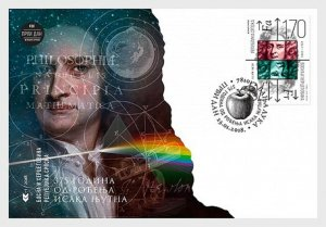 2018    BOSNIA  -  SIR ISSAC NEWTON   -   FIRST DAY COVER