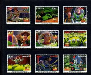 UGANDA - 1997 - DISNEY - TOY STORY - BUZZ - WOODY - ALIEN ++ 9 X MINT MNH SET!