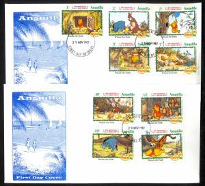 ANGUILLA 1982 DISNEY WINNIE THE POOH Set on 2 Cachet FDCs Sc 511-519