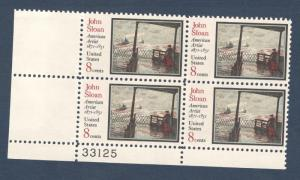 1433 John Sloan Plate Block Mint/nh (Free Shipping)