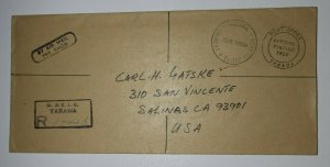 Gilbert Ellice Island Official Mail Cover Tarawa 1949 Registered USA Mail
