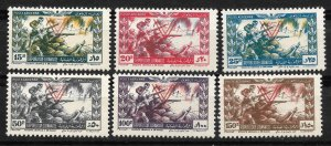 Doyle's_Stamps: 1946 Scott #C101** to #C106** Lebanon Airmail Set       (L34)
