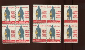 12 VINTAGE FIRE PREVENTION WEEK PUT HIS SAFETY FIRST POSTER STAMPS (L1221)