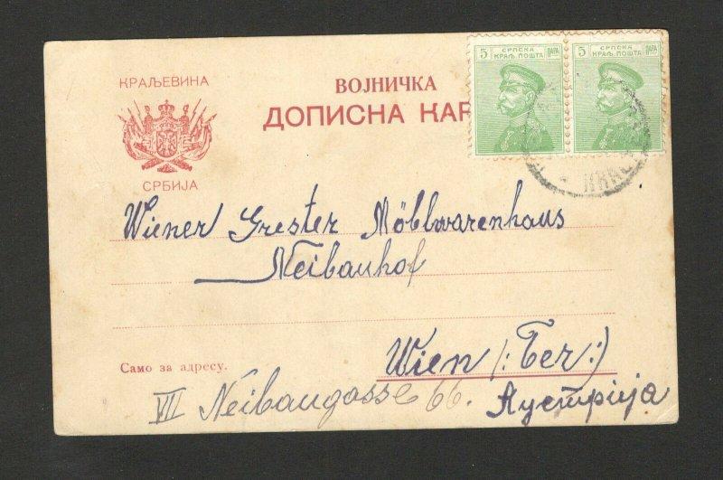 SERBIA TO AUSTRIA-TRAVELED MILITARY POSTCARD
