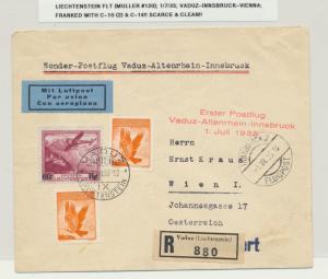 LIECHTENSTEIN 1935 FLIGHT VADUZ-INNSBRUCK-VIENNA Sc#C10(2)+14 SCARCE (SEE BELOW)