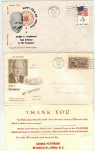 DWIGHT EISENHOWER Birthday Tribute 1958/1960 SET OF 2 + Card Denison Texas