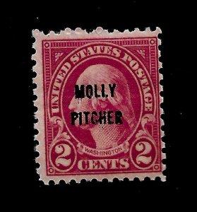 US 1928 Sc# 646 2 c  Molly Pitcher Mint NH - Vivid Color -