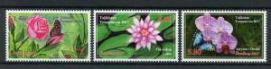 Tajikistan 2017 MNH Flowers & Butterflies Roses Orchids Bandung 3v Set Stamps