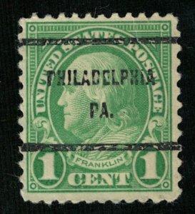United States, Franklin, 1 cent, overprint: PHILADELPHIA PA (3265-Т)