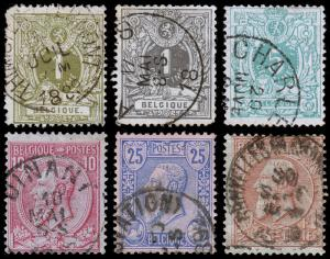 Belgium Scott 49-54 (1884-85) Used H F-VF, CV $20.20