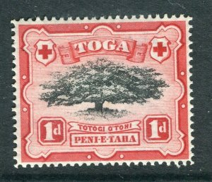 TONGA; 1897 early Pictorial issue Mint hinged 1d. value