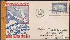 USA 1943 censor FDC to New Zealand - Overrun Nations GREECE................57701